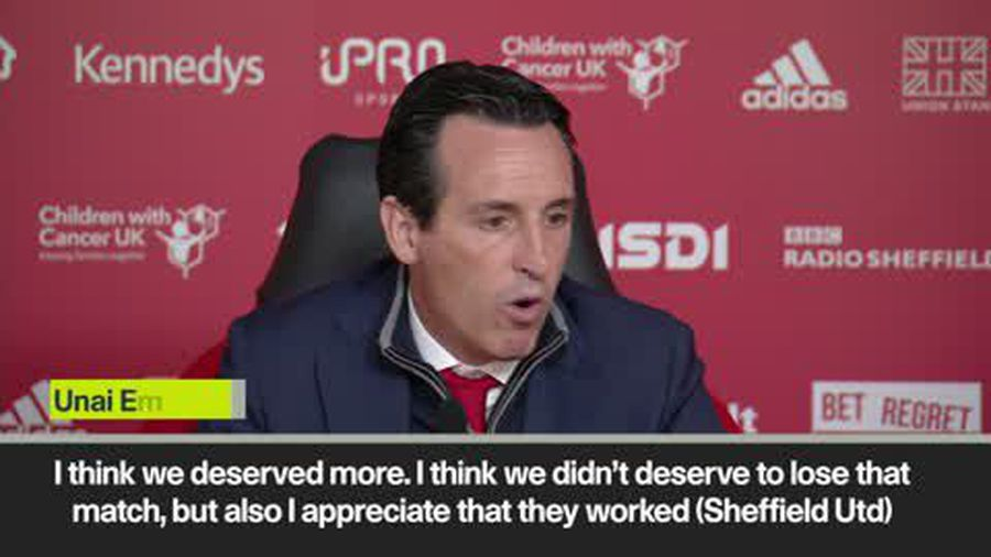 "Emery - ""We deserved more"", following 1-0 defeat to Sheffield United in Premier League"