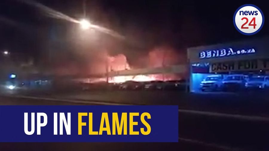 WATCH: Used car dealership goes up in flames