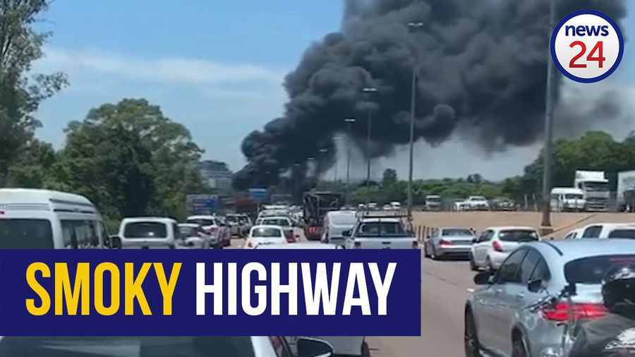 WATCH: Traffic disrupted as truck burns on N1 highway in Pretoria