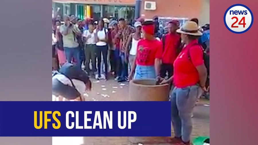 Video of UFS student cleaning up after EFF protesters has social media users at one another's throat