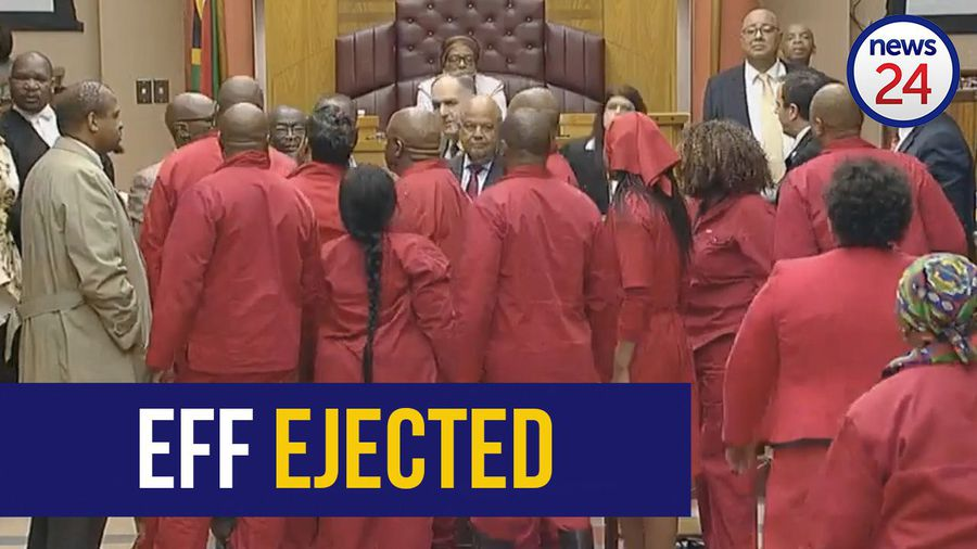 WATCH: EFF thrown out of Gordhan budget vote address after tense standoff