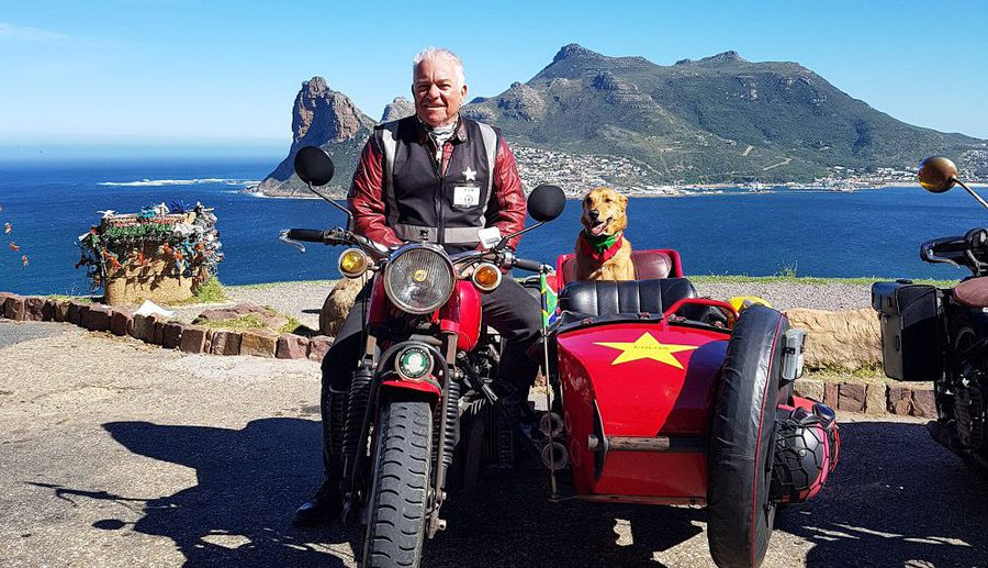 WATCH: Cape Town to Cape Point by side car (with a dog named Brody in the backseat)