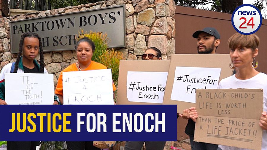 WATCH | Protesters gather outside Parktown Boys' High in solidarity with Enock Mpianzi's family
