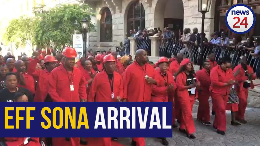WATCH | EFF MPs arrive in song for Ramaphosa's fourth SONA