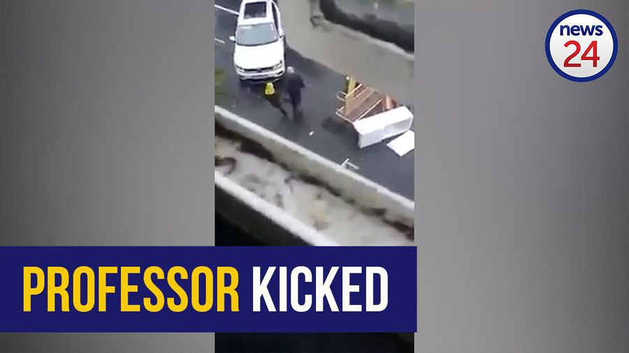 WATCH | UKZN protestor kicks professor who attempts to clear furniture from a road blockade