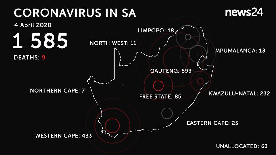 WATCH | 4 April: 9 confirmed deaths, 1 585 positive cases of coronavirus in South Africa