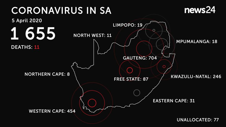 WATCH | 5 April: SA now has 11 deaths as Covid-19 infections increase to 1 655