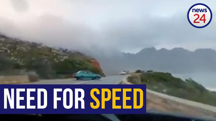 WATCH | Speeding car spins out of control, crashes into mountainside near Pringle Bay
