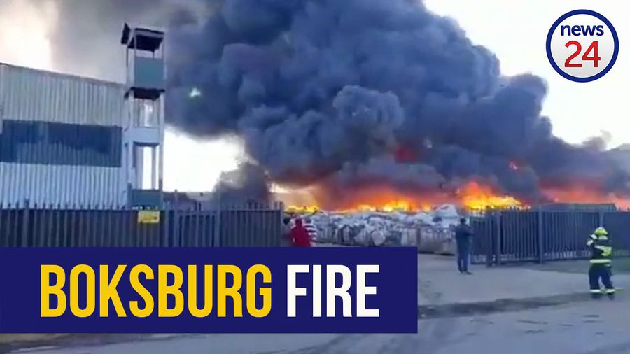 WATCH | Large fire at Boksburg recycling factory after materials catch alight