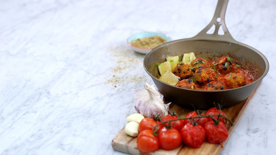 Stress Busting Turkey Meatballs with Moroccan Roasted Tomato Sauce