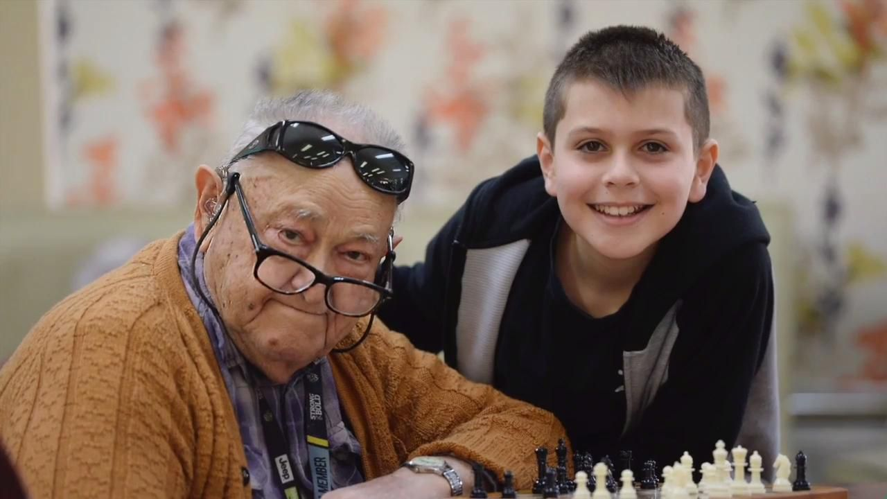 Ten year old boy takes on 91 year old at chess